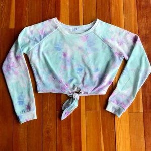 Long Sleeve Multi Color Crop Top Knotted Front